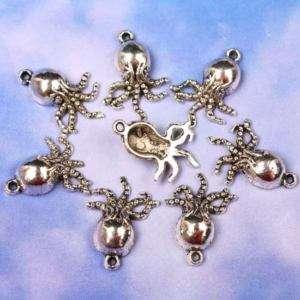 20Pcs Tibetan Silver Octopus Charm Pendant