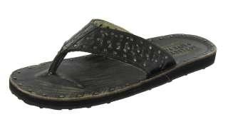 AFFLICTION Furlough Leather Studded Thongs Flip Flops Casual Mens