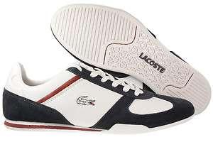 New Mens Lacoste Garonne DC SPM Leather Shoes White / Dark Blue 7