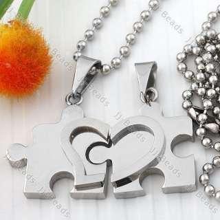 2x 316L Stainless Steel Heart Love Jigsaw Pendant Couple Bead Chain
