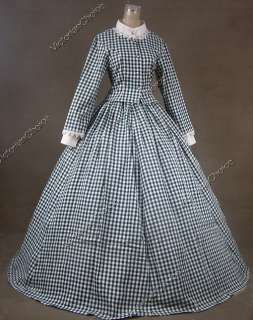 Civil War Victorian Cotton Blend Ball Gown Day Dress Cosplay 145 S