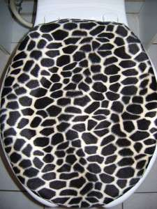 BLACK GIRAFFE FAUX FUR FABRIC (ELONGATED) Toilet Seat Lid Cover