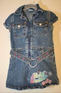 EUC Harley Davidson Motorcycle Girls Denim Jean Fitted Dress Sz 4T
