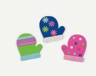 Mitten Foam Magnet Craft Kit with Glitter Full set. Winter Fun for