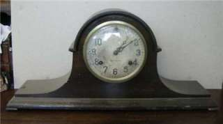 Antique New Haven Newhaven mantel clock wood case 8 day time strike