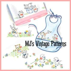 Vintage Babys Bib Embroidery Pattern ~ Lambs, Kittens