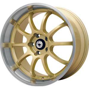 New 15X7 4 100 Konig Lightning Gold Machined Lip Wheels/Rims