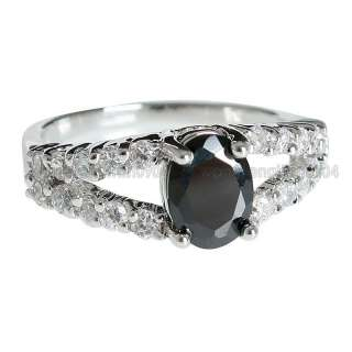 8ct Black Cubic Zirconia 18k Gold Plated Fashion Ring