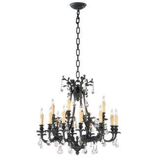Jamie Neo Noir Gothic Revival Modern Black Crystal 16 Light Chandelier