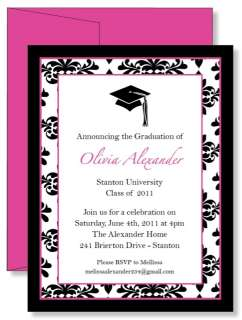 Pink Damask Graduation Party Invitations Any Color