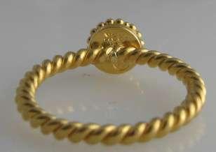 granulated 22K gold ring 4mm blue topaz size 5.5