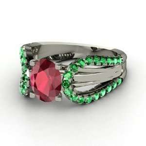 Rita Ring, Oval Ruby 14K White Gold Ring with Emerald