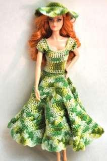 Barbie Handmade OOAK Light Green Crochet Party Dress & Hat