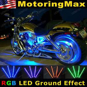 Color LED Knight Rider Ground Effect Light Kit For Motorcycle Bike