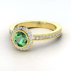 Roxanne Ring, Round Emerald 14K Yellow Gold Ring with