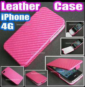 Hot Pink Flip Carbon Fibre Leather Case Cover Pouch for Apple iPhone 4