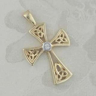 14K GOLD DIAMOND TRINITY KNOT CELTIC CROSS IRISH MADE