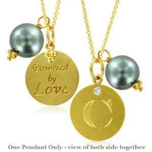 Natural Diamond Initial C, LOVE LETTERS Pendant Pearl Charm in 18k