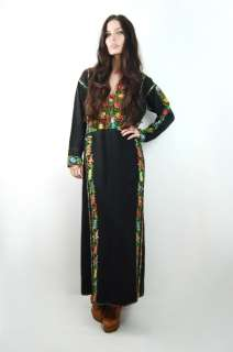 ETHNIC Embroidered MOROCCAN Gypsy Hippie CAFTAN Maxi Dress S/M