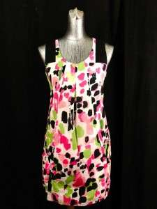 womens pink green KENSIE GIRL baby doll dress modern S