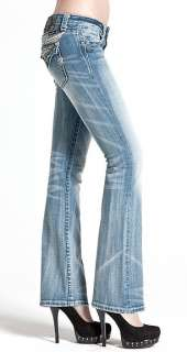 Miss Me Boot Cut Angel Wings Crystal Leather Jeans