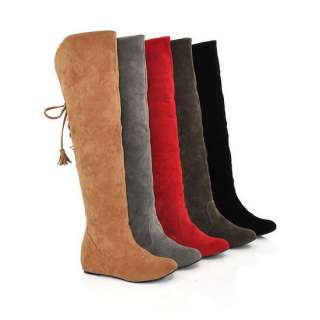 Womens Faux Suede Lace Backs Warm Inside Heels Booties Fashion Over