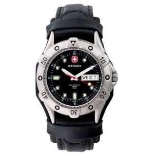 Wenger Battalion Diver, Black Dial, Black Leather Strap Wenger