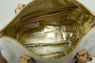 MICHAEL KORS MK GRAYSON LARGE SATCHEL MONOGRAM MIRROR White Handbag