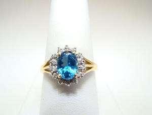 Swiss Blue Topaz and Diamond Split Shank 14K YG Ring Wow Color Nice