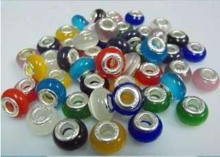 Cat eye Beads Fit charm bracelet mix colors 50pcs