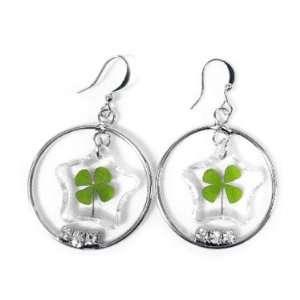 4 Leaf Clover Star Charm Hoop Earrings Toys & Games
