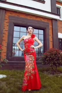 Prom Mermaid Cheongsam Long Peacock Bridal Gown Dress/Bridesmaid