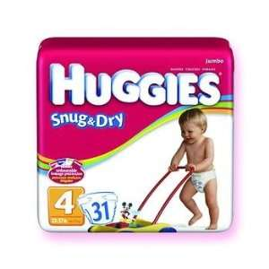 KIMBERLY CLARK Huggies Snug & Dry Disposable Diapers SZ 4