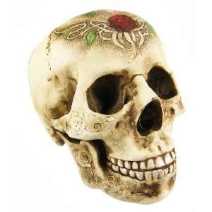 Tribal Rose Tattoo Design Human Skull Statue: Home & Kitchen