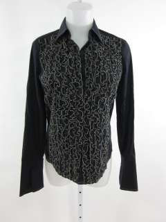 MAX STUDIO Black Ruffled Button Down Shirt Top Sz S
