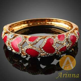 ARINNA simple red ruby heart love bracelet bangle gold plated