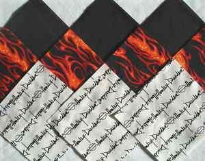 30 6 HARLEY DAVIDSON Script Red Flames & Black Quilt Fabric Squares