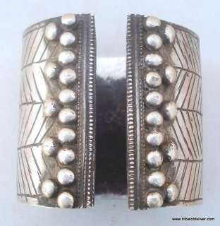 ANTIQUE ETHNIC TRIBAL OLD SILVER CUFF BRACELET BANGLE RAJASTHAN INDIA
