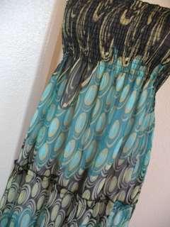 INDIE HOBO Peacock Motif Smocked Chiffon Maxi Dress