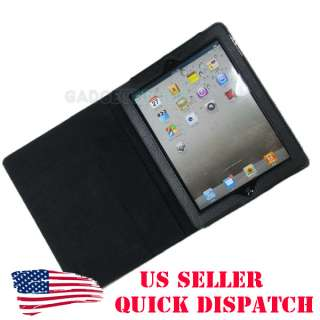PAD2 IPAD2 PAD 2 BLACK LEATHER PORTFOLIO CASE STAND COVER POUCH