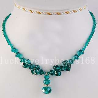 Malachite Green Crystal Beads Necklace 17.5 FG3135