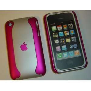 Apple iPhone Dual 2 Tone Hot Pink / Silver Hard Back Case Cover 3G 3GS