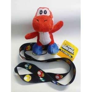 Mario Bros Yoshi Lanyard   Red Yoshi   Mushroom Lanyard