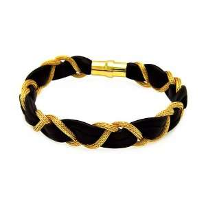 Sterling Silver Italian Bracelets Black Leather With Gold Plated Chain