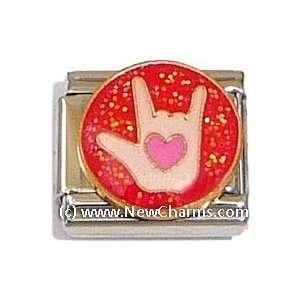 Love Sign Language Italian Charm Bracelet Jewelry Link