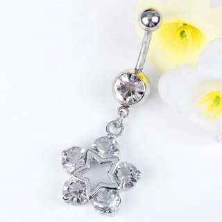 14G Clear Crystal STAR* Dangle Ball Belly Navel Ring 1P