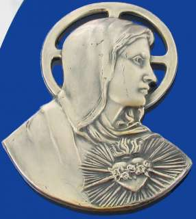 VINTAGE DECO 1930S SACRED HEART JESUS & MARY OVAL BLUE MIRROR WALL