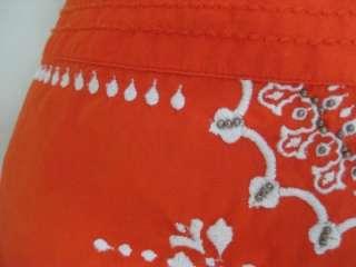 Anthropologie LITHE Bright Orange Beaded Embroidered Boho Spring