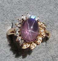 LINDE LINDY TRANS. PURPLE STAR SAPPHIRE CREATED RING