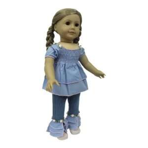 American Girl Doll Clothes Blue Peasant Top Outfit Toys